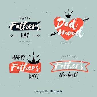 Collection d'insignes de fête des pères dessinés à la main