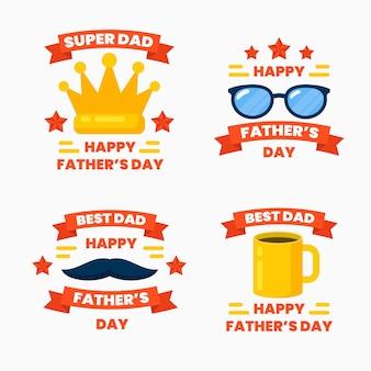 Collection d'insignes de fête des pères plats