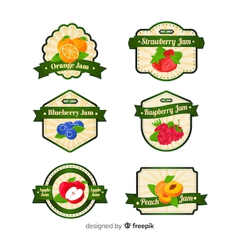 Collection d'insignes de fruits modernes