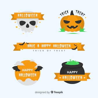 Collection d'insignes halloween design vintage