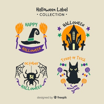 Collection d'insignes de halloween dessinés à la main colorée
