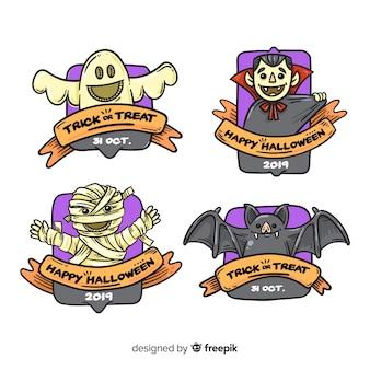 Collection d'insignes halloween dessinés à la main
