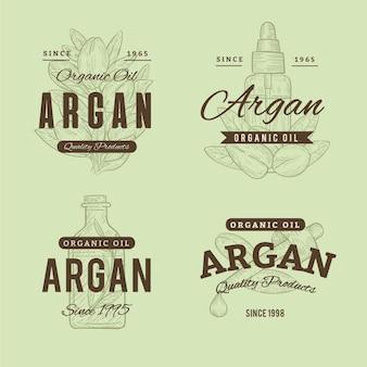 Collection d'insignes d'huile d'argan dessinée à la main réaliste