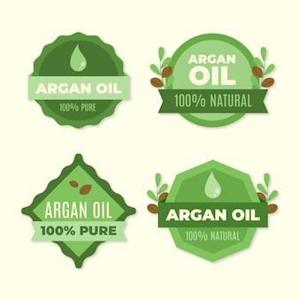 Collection d'insignes d'huile d'argan plat biologique