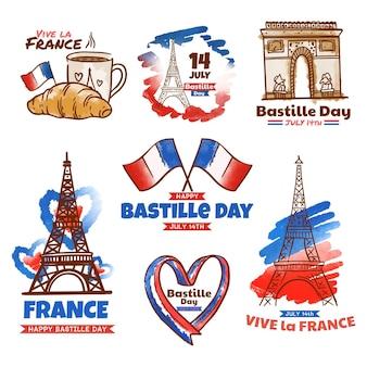 Collection d'insignes de jour de bastille aquarelle peinte à la main