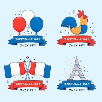 Collection d'insignes de jour de bastille dessinés à la main