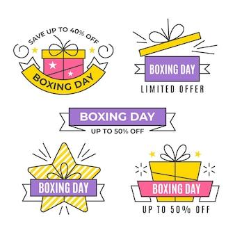 Collection d'insignes de jour de boxe design plat
