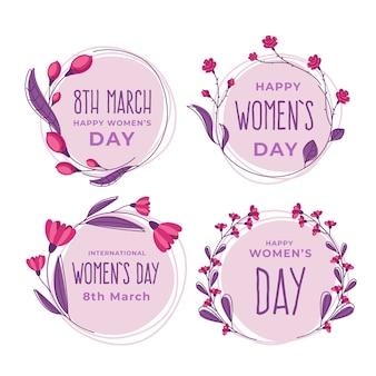 Collection d'insignes de jour féminin design plat