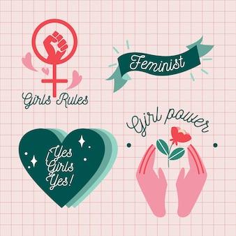 Collection d'insignes de jour de femmes dessinés à la main