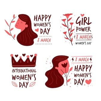 Collection d'insignes de jour des femmes dessinés à la main