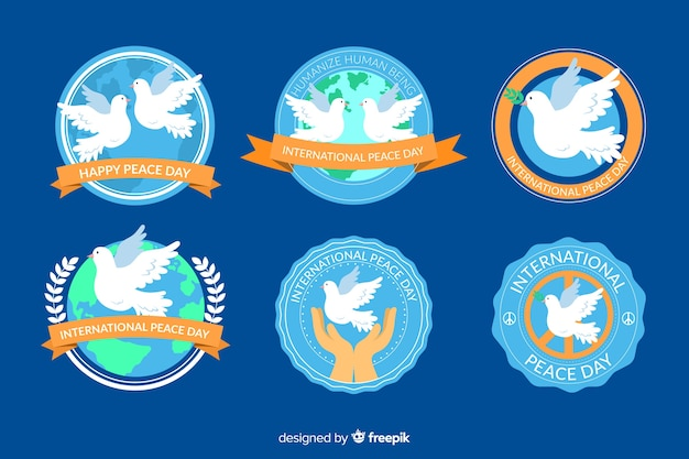 Collection d'insignes de jour de paix design plat