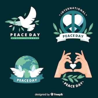 Collection d'insignes de jour de paix design plat