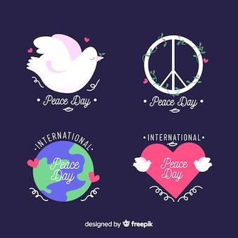 Collection d'insignes de jour de la paix dessinés à la main