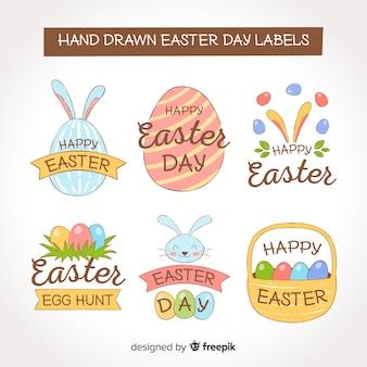 Collection d'insignes de jour de pâques dessinés à la main