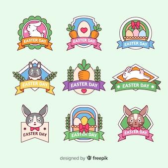 Collection d'insignes de jour de pâques plat