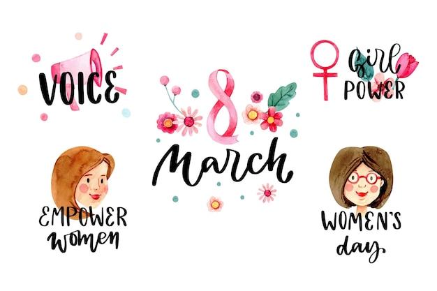 Collection d'insignes de la journée internationale de la femme aquarelle
