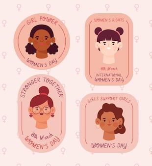 Collection d'insignes de la journée internationale de la femme dessinée à la main