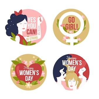 Collection D'insignes De La Journée Internationale Des Femmes Dessinés à La Main Vecteur gratuit
