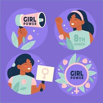 Collection d'insignes de la journée internationale des femmes dessinés à la main