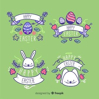 Collection d'insignes de joyeuses pâques