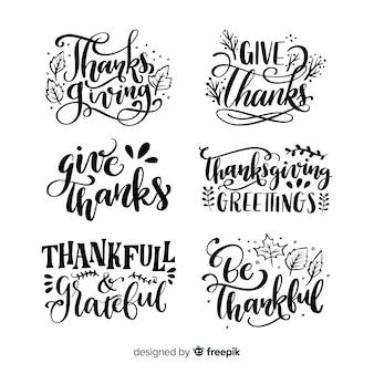 Collection d'insignes de lettrage happy thanksgiving