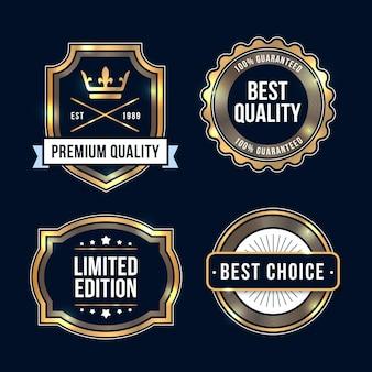 Collection d'insignes de luxe dorés dégradés