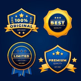 Collection d'insignes de luxe dorés réalistes