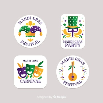 Collection d'insignes de mardi gras