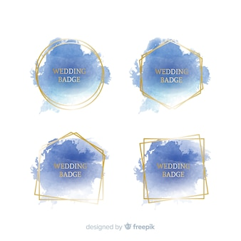 Collection d'insignes de mariage aquarelle tache
