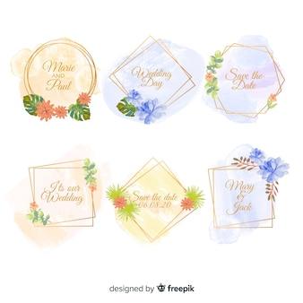 Collection d'insignes de mariage de taches d'aquarelle