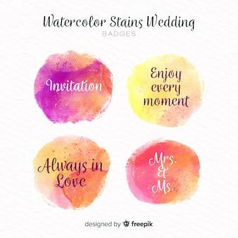 Collection d'insignes de mariage de taches d'aquarelle