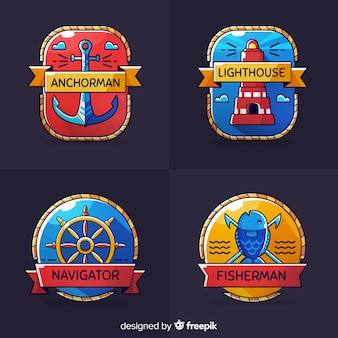 Collection d'insignes nautiques dessinés à la main