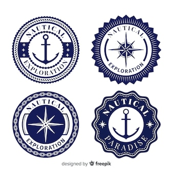 Collection d'insignes nautiques plats