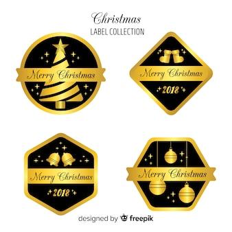 Collection d'insignes de noël décoratif noir et or