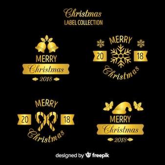 Collection d'insignes de noël décoratifs noirs et dorés