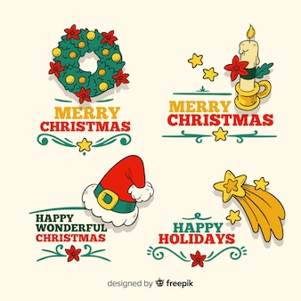 Collection d'insignes de noël dessinés à la main