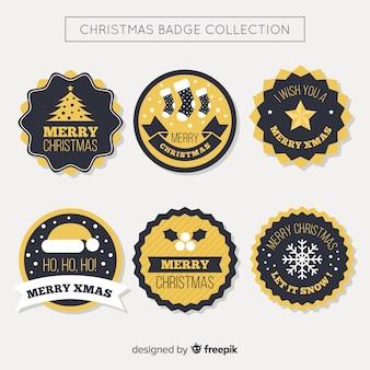 Collection d'insignes de noël noir et or