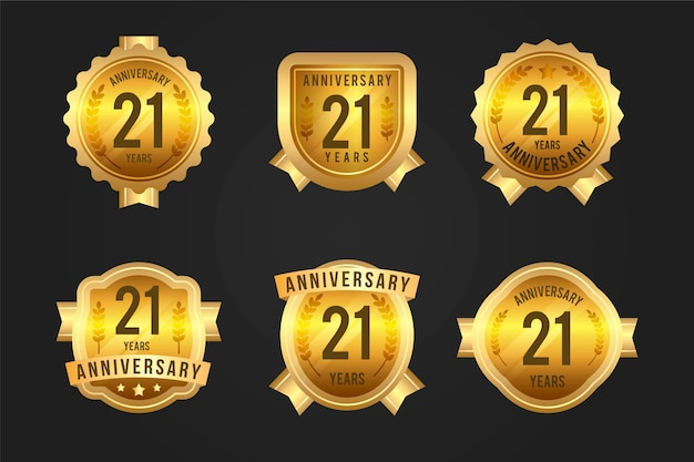 Collection d'insignes d'or 21 anniversaire