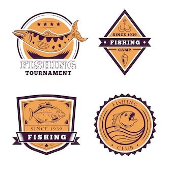Collection d'insignes de pêche rétro