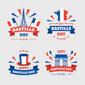 Collection d'insignes plat bastille day