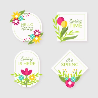 Collection d'insignes de printemps au design plat