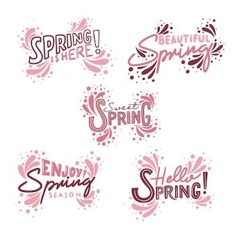 Collection d'insignes de printemps au design plat
