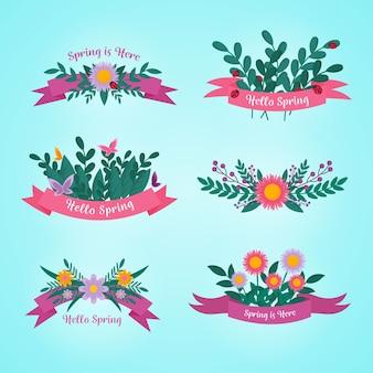 Collection d'insignes de printemps design plat