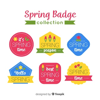 Collection d'insignes de printemps plat