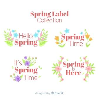 Collection d'insignes de printemps plat