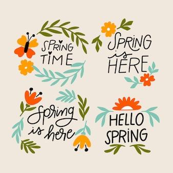 Collection d'insignes de printemps saisonniers dessinés à la main