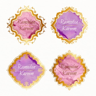 Collection d'insignes de ramadan aquarelle