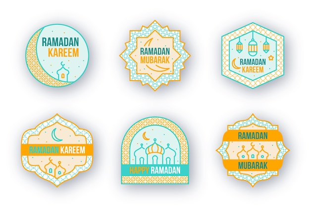 Collection d'insignes de ramadan design plat