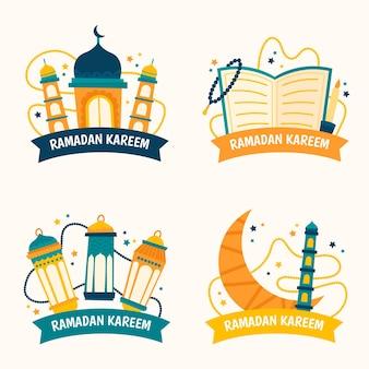 Collection d'insignes de ramadan dessinés à la main isolé sur fond d'écran blanc