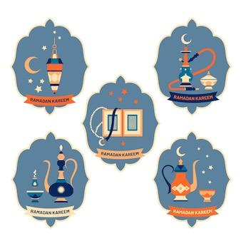 Collection d'insignes de ramadan dessinés à la main